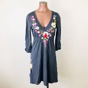 Johnny Was Floral Embroidered V-Neck Dress